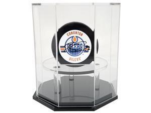 OnDisplay Deluxe UV-Protected Hockey Puck Display Case - Octagon Black Base