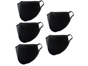 5 Pcs - Black 100% cotton Face Mask Premium Unisex Reusable Washable Cover Mask Men Women