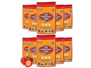Survival Tabs - 3-day Food Supply - Gluten-Free, Non-GMO The Survival Tabs 25 Years Shelf Life (10 pouches x 4 tablets = 40 Tablets/Strawberry)