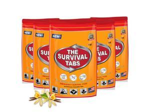 Emergency Food Rations Survival Tabs 10 days Food Rations - 5 x 24 Tablets pouch 25 Years Shelf Life - Vanilla Flavor