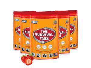 Emergency Food Rations Survival Tabs 10 days Food Rations - 5 x 24 Tablets pouch 25 Years Shelf Life - Strawberry Flavor