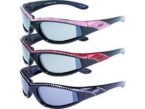 3 Pairs of Global Vision Eyewear Marilyn 11 Women's Black Sunglasses Pink Red Black Gloss Stripe Frames Flash Mirror Lenses