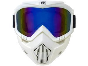 Birdz Eyewear Skylark White TPU Motorcycle Mask & Detachable Goggles with Blue ReflecTech Mirror Lenses