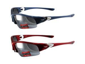 2 Pairs Global Vision Cool Breeze Safety Sunglasses One Blue Frame One Red Frame Flash Mirror Lenses ANSI Z87.1