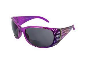 Global Vision Galaxy Womens Bifocal Fashion Motorcycle Sunglasses Chrome Rhinestone Look Lavender Frames Smoke Lenses 3.0 Magnification