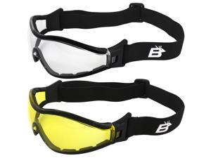 2 Pairs of Birdz Eyewear Boogie Foam Padded Motorcycle Ski Skydiving Z87.1 Safety Goggles Black Frames with Clear & Yellow Anti-Fog Lenses