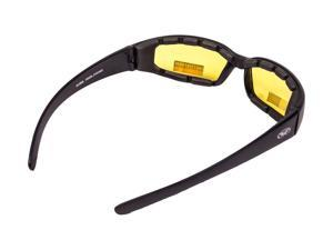 Global Vision Chicago Motorcycle Padded Glasses Polycarbonate UV400 Yellow Lens