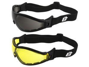 2 Pairs of Birdz Eyewear Boogie Foam Padded Motorcycle Ski Skydiving Z87.1 Safety Goggles Black Frames with Smoke & Yellow Anti-Fog Lenses