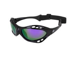 Birdz Eyewear Seahawk Water Sports Safety Goggles Black Frames + Purple ReflecTech Mirror Lenses