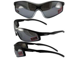 Global Vision Home Run Sunglasses Two-Toned Grey and Black Frames Flash Mirror Lens