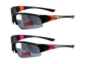 2 Pairs Global Vision Cool Breeze 3 Sunglasses Black/Neon Orange and Black/Neon Pink Frames Mirror Lenses ANSI Z87.1+