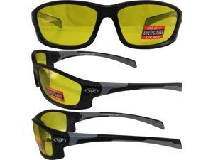 HERC5YL GLOBAL VISION EYEWEAR SUNGLASSES WITH BLACK AND GREY TRIM WITH YELLOW LENSES