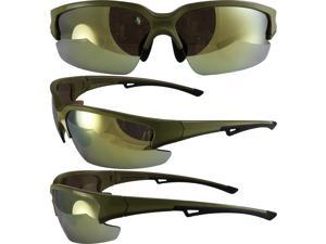 IMPALAGTGD GLOBAL VISION SUNGLASSES WITH A GOLD FRAME WITH BLACK TRIM AND GOLD MIRROR LENSES