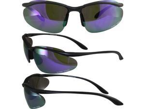 HOLLYWOODGTPR GOLBAL VISION Sunglasses with a black frame and purple colored mirror tinted lenses