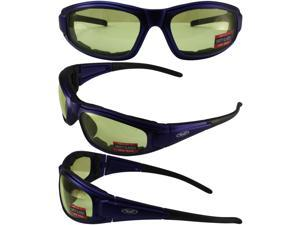 ZILLAPLBLYT GLOBAL VISION SAFETY GLASSES WITH BLUE FRAME AND CLEAR LENSES WITH FOAM PADDING INSIDE