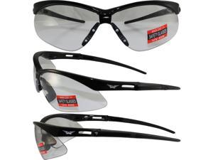 HERC4CL GLOBAL VISON SAFETY GLASSES WITH BLACK FRAME AND CLEAR LENSES 400 UV PROTECTION