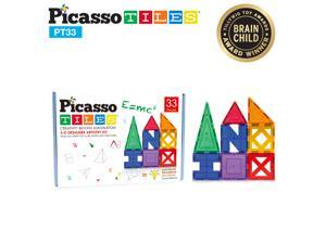 PicassoTiles 33 Piece Building Blocks 33pcs Educational Kit 3D Building Construction Toy Set Clear Magnetic Stacking Block STEM Playboard Magnet Felt Tiles Novelty Game, Creativity Beyond Imagination!