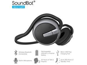SoundBot SB221 HD Wireless Bluetooth 4.0 Headset Sports-Active Headphone for 20Hrs Music Streaming & HandsFree Calling w/ Sweat Resistant Ergonomic Secure-Fit Design & Voice Command Support GRY/BLK