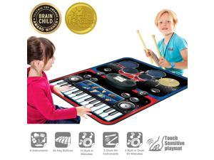PicassoTiles Portable 2-in-1 Drum & Piano Combo Play Mat Educational Musical Play Mat w/ 8 Musical Instruments, 5pc Drum Set, 10 Demo, 24-Key Keyboard, Built-in Speaker, Record & Playback PTM201