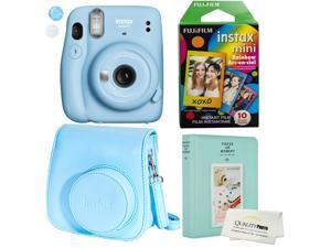 Fujifilm Instax Mini 11 Polaroid Ice Blue Instant Camera Plus Original Fuji Case, Photo Album and Fujifilm Character 10 Films (Rainbow)