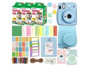 Fujifilm Instax Mini 11 Instant Camera with Case, 60 Fuji Films, Decoration Stickers, Frames, Photo Album and More Accessory kit (Sky Blue)