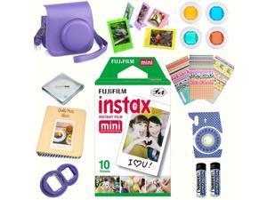Fujifilm instax mini 8 accessories KIT GRAPE includes - instant film 10 pack +  deluxe bundle for fujifilm instax mini 8 camera