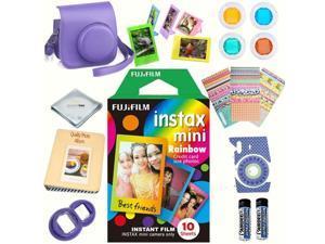 Fujifilm Instax mini 8 Film (Rainbow 10-PACK) + DELUXE Accessory KIT (Grape)