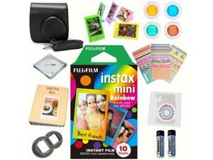 Fujifilm Instax mini 8 Film (Rainbow 10-PACK) + DELUXE Accessory KIT (Black)