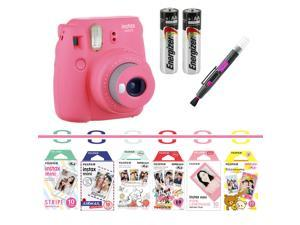 Fujifilm instax mini 9 camera bundle (pink) with Airmail, Pink Lemonade, Stripe, Winnie the Pooh, Disney MICKEY & Friends?, RiLakkuma, Quality Photo 2 in 1 pen/brush and spray