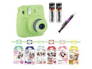 Fujifilm instax mini 9 camera bundle (Green) with Airmail, Pink Lemonade, Stripe, Winnie the Pooh, Disney MICKEY & Friends?, RiLakkuma, Quality Photo 2 in 1 pen/brush and spray