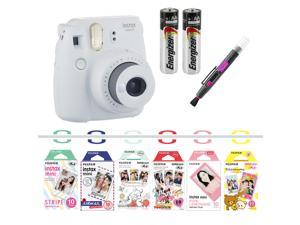 Fujifilm instax mini 9 camera bundle (Smokey White) with Airmail, Pink Lemonade, Stripe, Winnie the Pooh, Disney MICKEY & Friends?, RiLakkuma, Quality Photo 2 in 1 pen/brush and spray