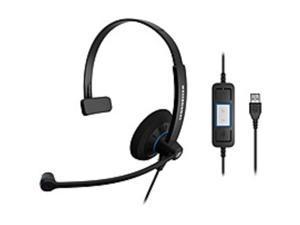 Sennheiser SC 30 USB ML Headset - Mono - USB - Wired - 60 Hz - 16 kHz - Over-the-head - Monaural - Supra-aural - 6.89 ft Cable - Noise Cancelling Microphone - Black, Orange