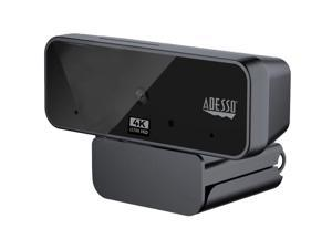 Adesso CyberTrack H6 4K Ultra HD Webcam - 8 Megapixel - 30 fps - USB 2.0 - Fixed Focus - Tripod mount - Privacy shutter - 3840 x 2160 Video - Works with Zoom, Webex, Skype, Team, Facetime, ...