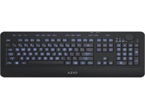 AZIO KB510W Wireless Backlit Keyboard for PC - 104 Keys - 2.4 GHz - USB Type-A - Blue Backlight - Black