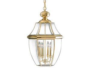 Quoizel 4 Light Newbury Outdoor Pendant in Polished Brass - NY1180B