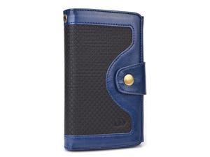 Blue Universal BiFold Wallet with Snap Button Strap for Unnecto Quattro Z, Quattro ZL Smart Phones