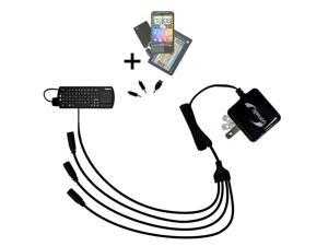 Quad output Wall Charger includes tip for the FAVI FE01-BL RT-MWK01 keyboard