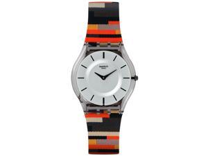 Swatch SFM133 Patchwork Silver Dial Leather Strap Women's Watch