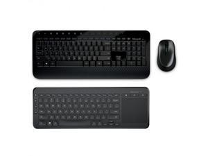Microsoft Wireless Desktop 2000 Keyboard and Mouse + Microsoft All-in-One Media Keyboard - USB Wireless RF Keyboard & Mouse - Integrated Multi-touch TrackPad - BlueTrack Enabled - 2.40 GHz Operati