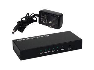 QVS HD-144K 60 Hz 1 x 4 4 Port HDTV, HDCP Splitter & Distribution Amplifier