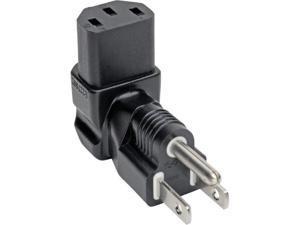 Tripp Lite P006-000-DA NEMA 5-15P to IEC-320-C13 Downward Power Adapter - 10A, 125V, Black