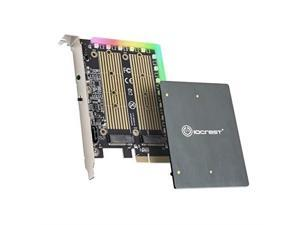 I/O CREST Dual M.2 SATA and PCIe Nvme SSD to PCIe X4 Adapter Card with 5V RGB Heatsink 2280 2260 2242 2230