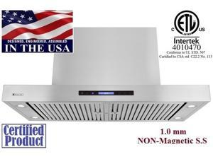 "XtremeAir PX06-I48, 48"" Wide, 1600 CFM, Easy Clean swing-able baffle Filters, Stainless Steel, Island Mount Range Hood"