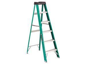 Louisville #592 Folding Fiberglass Step Ladder 6 ft 5-Step Green/Black FS4006
