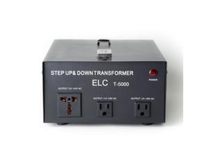 ELC T-5000 5000-Watt Voltage Converter Transformer w/ Circuit Breaker Protection