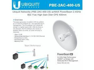 Ubiquiti Networks PBE-2AC-400-US 2.4GHZ POWERBEAM AC BRIDGE