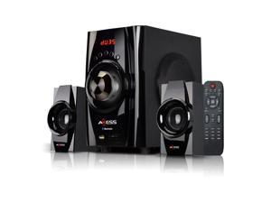 AXESS MSBT3901BK  Bluetooth Mini System 2.1-Channel Home Theater Speaker System Black