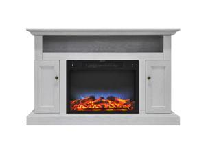 """Cambridge 47"""" Width Fireplace Mantel with LED Electric Insert, White"""