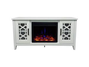 "CAMBRIDGE CAM5414-1WHTLG3 55.9""x15.7""x25.7"" Stardust Cutout Fireplace Mantel with Deep Log Insert"
