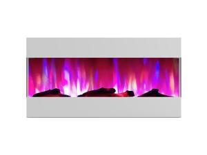 """CAMBRIDGE CAM42RECWMEF-2WHT 42"""" Recessed Wall Mount E-Fireplace with Logs"""